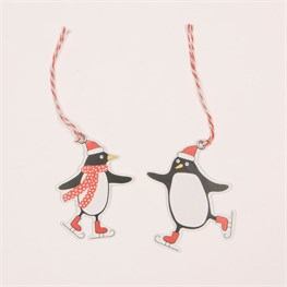 Set of 6 Skating Penguin Gift Tags