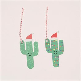 Set of 6 Festive Happy Cactus Gift Tags