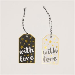 Set of 6 with Love Merry Monochrome Gift Tags