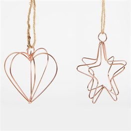 Wire Lines Copper Heart & Star Hanging Decoration Assorted