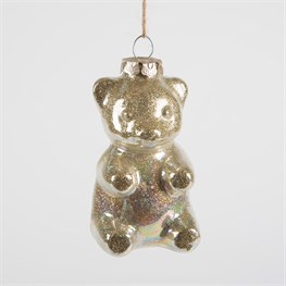 Lance the Glittery Gold Polar Pup Shaped Bauble