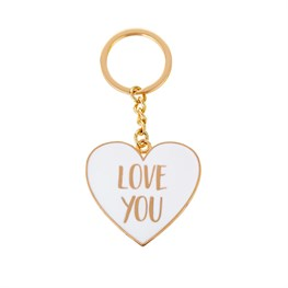 Love You Gold Metallic Heart Keyring