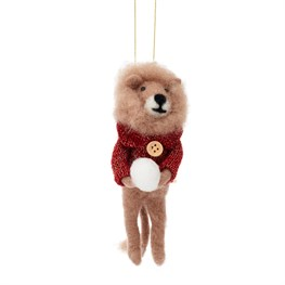 Jungle Fun Christmas Snowball Lion Hanging Felt Decoration