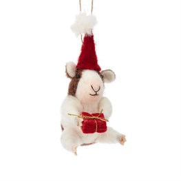 Christmas Guinea Pig Hanging Felt Decoration