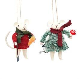 Gardening Mice Felt Decoration Assorted
