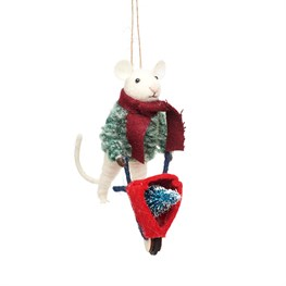 Mouse With Wheelbarrow Felt Decoration