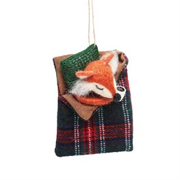 Fox In Sleeping Bag Felt Decoration