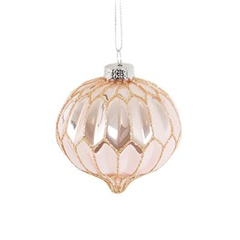 Pink and Glitter Geometric Oval Bauble