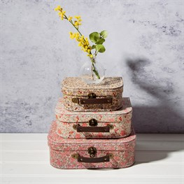 Vintage Floral Suitcases - Set of 3