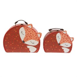 Set of 2 Floral Friends Angus the Fox Suitcases