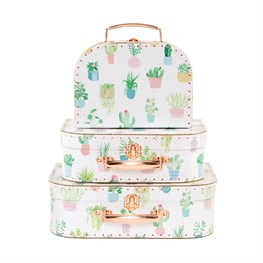 Pastel Cactus Suitcases - Set of 3