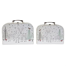 Set of 2 Winter Forest Folk Deer Suitcases