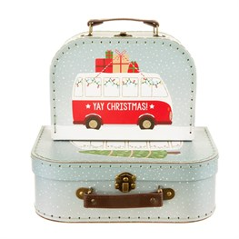 Christmas Camper Van Suitcases - Set of 2