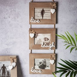 Ashley Farmhouse Live Laugh Love Triple Photo Frame