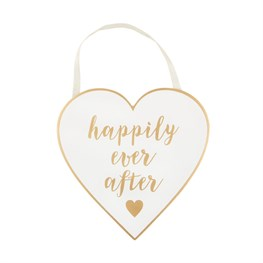 Gold & White Happily Ever After Plaque