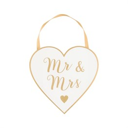 Gold & White Mr & Mrs Hanging Heart Plaque