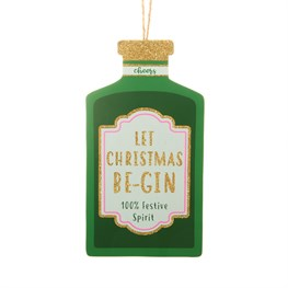 Christmas Cheer Gin Bottle Shaped Bauble