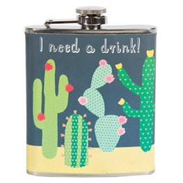 Colourful Cactus 'I Need a Drink' Hip Flask