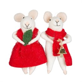 Millie & George Xmas Mice Standing Decoration Assorted