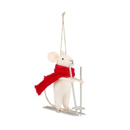 Felt Skiing Mouse Decoration