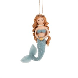 Golden Pearl Mermaid Felt Hanging Decoration