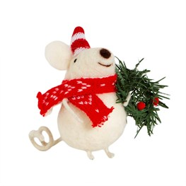 Friendly Mouse with Wreath Felt Decoration