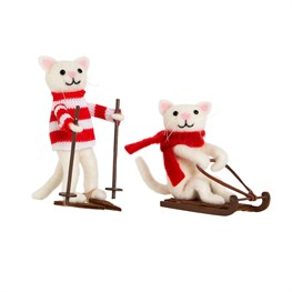 Assorted Skiing & Sledging Cats Decorations
