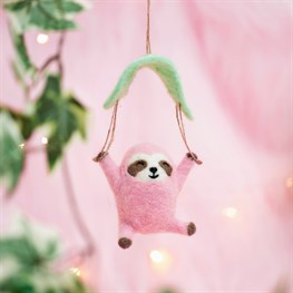 Wonderland Pink Parachuting Sloth Hanging Felt Decoration