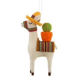 Christmas Fun Cactus Llama Hanging Felt Decoration