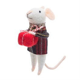 Tartan Mouse Hanging Felt Decoration