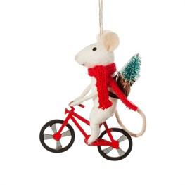 Bicycle Delivery Mouse Felt Decoration