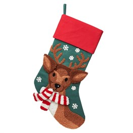 Reindeer Embroidered Stocking