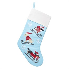 Dogs on Sledges Embroidered Stocking