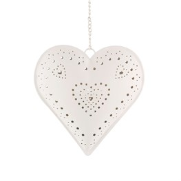 Hanging Heart Tealight Holder Heart Design Cream