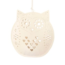 Hanging Owl Tealight Holder Cream
