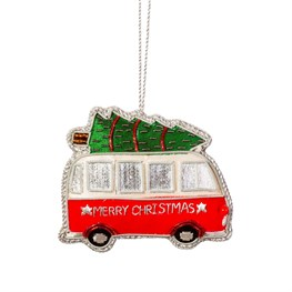 Christmas Camper Van Zari Embroidery Decoration