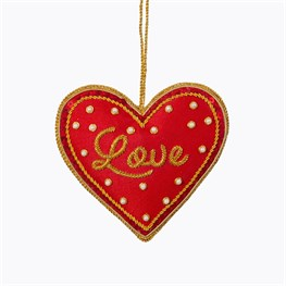 Red Love Heart Zari Embroidery Decoration