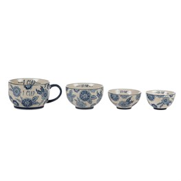 Set of 4 Blue Willow Floral Measuring Cups