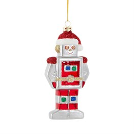 Glitter Christmas Robot Shaped Bauble