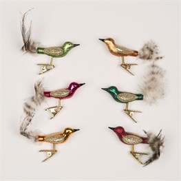 Set of 6 Glittery Heirloom Bird Clips