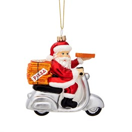 Fun Food Pizza Delivery Santa Shaped Bauble
