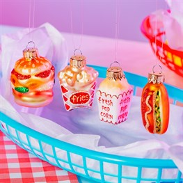Fun Fast Food Shaped Baubles - Set of 4