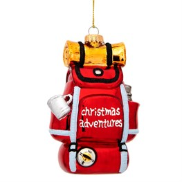 Red Camper Backpack Shaped Bauble