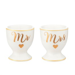 Gold Mr & Mrs Egg Cups - Set of 2