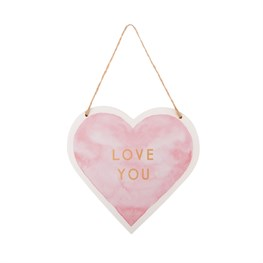 Love You Pastel Pink Heart Hanging Plaque