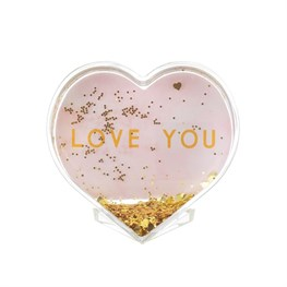 Love You Heart Glitter Photo Block
