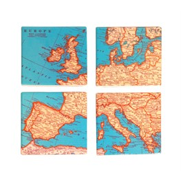 Set of 4 Vintage Map Coasters
