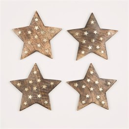 Wooden Star Coasters with Brass Inlay - Set of 4