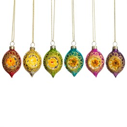 Set of 6 Bright Metallic Open Faced Baubles