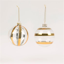 Gold Stripe Bauble Assorted
